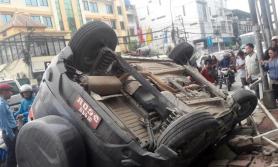जमलमा गाडी दुर्घटना : इन्जिन नै सडकमा उछिटियो