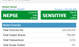 शेयर बजारमा सामान्य वृद्धि