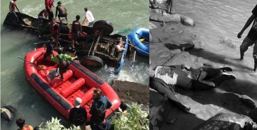 सुनकोशी नदीमा बस खस्दा ९ जनाको मृत्यु, १५ घाइते