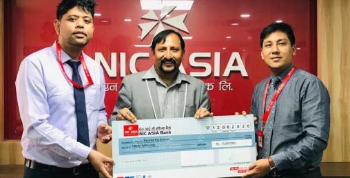 एनआईसी एशिया बैंकद्वारा ३० लाख घातक रोग बीमा दावी रकम भुक्तानी
