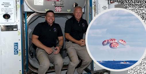 दुई अमेरिकी अन्तरिक्ष यात्री समुन्द्रमा झर्दै