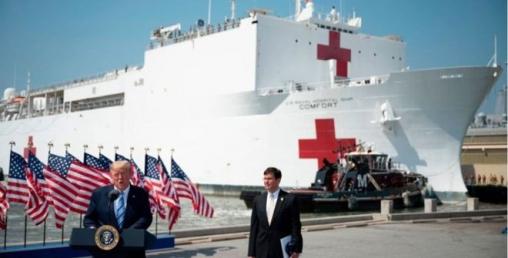अमेरिकाले पानीजहाज मै बनायो हजार बेडको अस्पताल