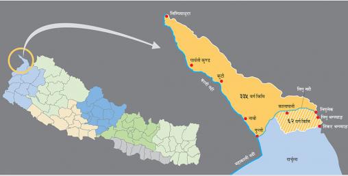 'लिम्पियाधुरा, लिपुलेक र कालापानी सहित छुटेको भूमि नयाँ नक्सा