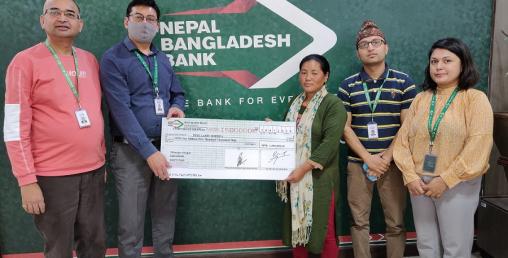 नेपाल बङ्गलादेश बैंकका खातावालको परिवारलाई बैंकको बीमा सुविधा अन्तर्गतको १५ लाख हस्तान्तरण