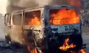 गोगंबुको ग्यारेजमा आगलागी, १२ वटा माइक्रोबस जले