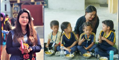 यूरोपमा उच्च शिक्षा हासिल गरेकी अपरा ६ हजार बालबालिकालाई दिवा खाना खुवाउँदै